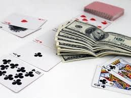 poker table with money